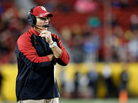 Indiana head coach Tom Allen seen coaching in the Foster