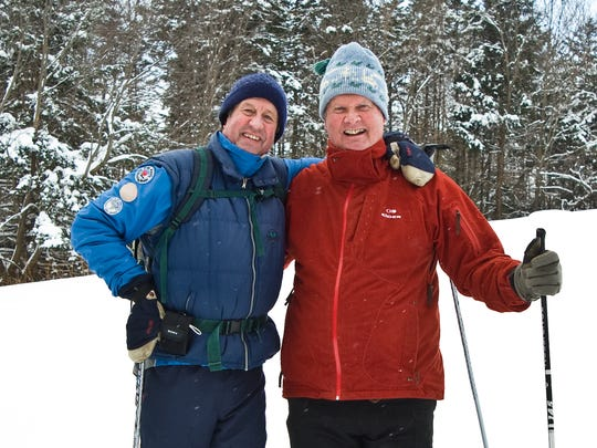 Johannes von Trapp, right, and Per Sorlie take a moment to enjoy the fruits of their labor decades after the initial opening of the Trapp Family Lodge Cross-Country Ski Center.