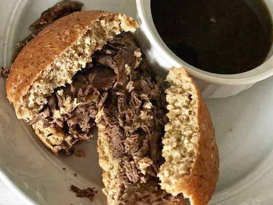 Slow Cooker Bison French Dip Sandwiches produce a ready-made, incredibly-tasty au jus.