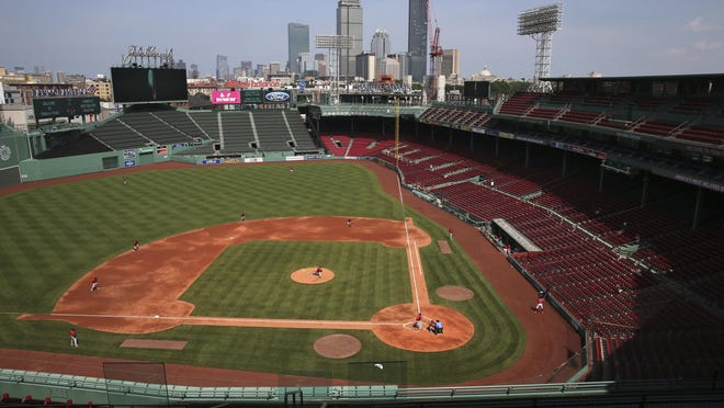 The Red Sox play an intra-squad game to nearly empty stands at Fenway Park on Thursday.