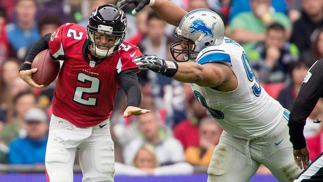 Lions defensive tackle Ndamukong Suh sacks Falcons QB Matt Ryan during Sunday's win in London.