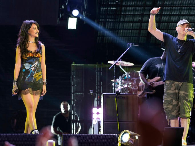 When Eminem and Rihanna are onstage together, sparks fly. They kicked off the Monster Tour at the Rose Bowl on Thursday in Pasadena, Calif. Click ahead to witness more of their on-screen and onstage chemistry.