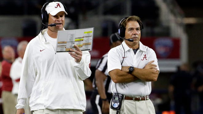 Lane Kiffin, left, and Nick Saban split after three years at Alabama together.