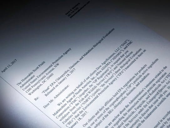 This letter obtained by the Associated Press and photographed