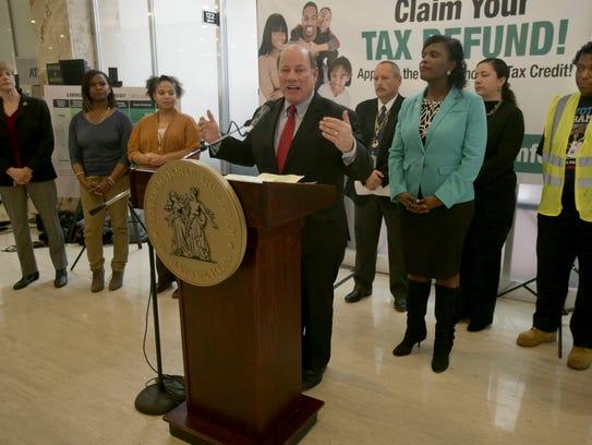 Detroit Mayor Mike Duggan talks to the press on Thursday,