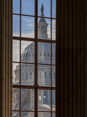 The Capitol Dome is seen from the Russell Senate Office Building in Washington during a partial government shutdown.