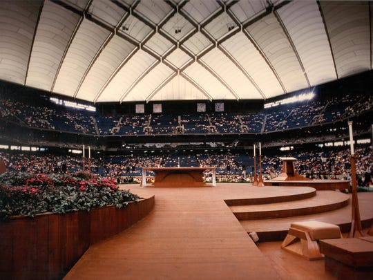 The cherry-wood altar, designed by Latvian-born architect Gunnar Birkerts, was created for Pope Saint John Paul II's 1987 visit to the Pontiac Silverdome.