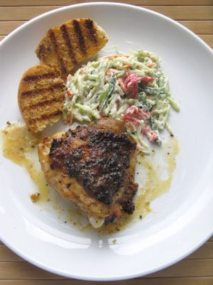 Dixie chicken with broccoli and bell pepper slaw.