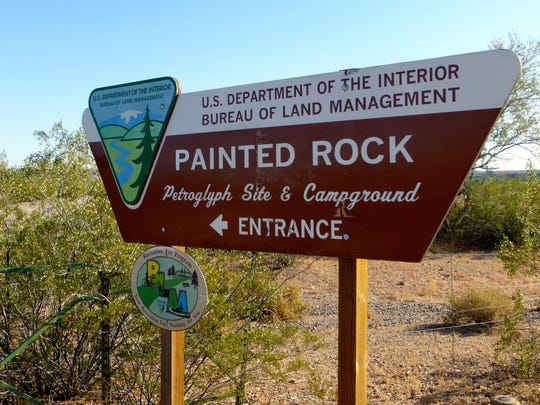 Painted Rock Petroglyph Site sits amid a lonely stretch of desert, northwest of Gila Bend.