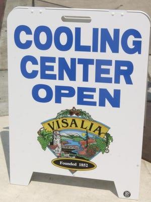 Visalia cooling center sign.