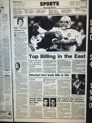 The Democrat and Chronicle sports page on Dec. 24, 1990.