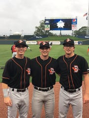 From left, shortstop Chris Clare, outfielder Jake Ring and pitcher Alex Wells pose at the 58th annual South Atlantic League All-Star Game.