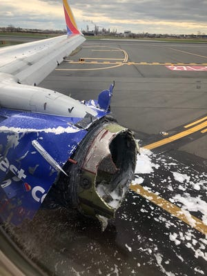 """This photo from a Twitter post by Joe Marcus (@joeasaprap) on April 17, 2018 shows the damaged engine on the Southwest Airlines flight 1380 airplane with a caption reading: """"What a flight!  Made it!! Still here!! #southwest #flight1380"""""""