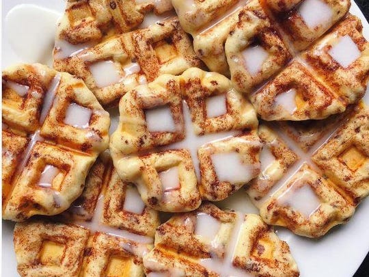 One of Skyler Bouchard's instagram photos was mini waffles for breakfast.