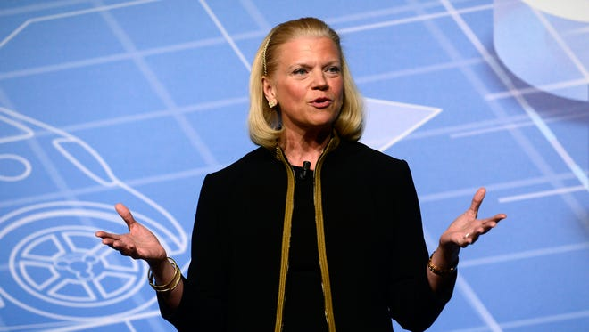 Virginia M. Rometty, chairwoman and CEO of IBM, speaks during a conference at the Mobile World Congress, in 2014.