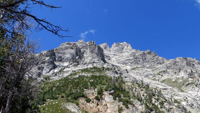 The summit of Teewinot Mountain as seen from the Teewinot Apex, in Grand Teton National Park in Wyoming.