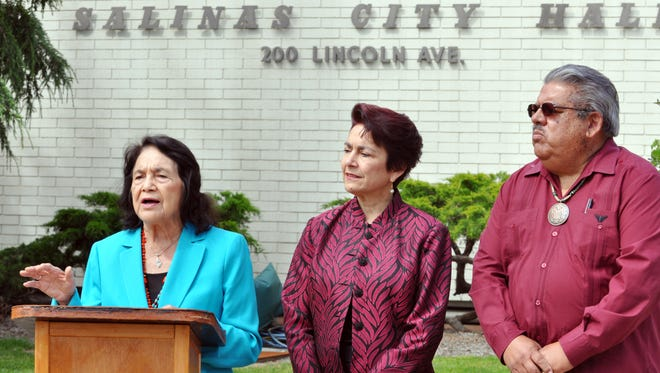 Civil rights icon Dolores Huerta, 86, endorses both Ana Caballero and Fernando Armenta at a press conference held Wednesday in front of City Hall in Salinas.