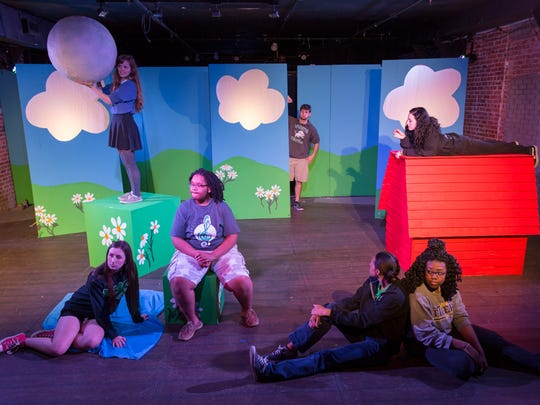 "Lafayette High students Jade Hawkins, Kori Abshire, Maci Roberts, Armani Bailey, Erin Jacobs and Dhaija Smith rehearse for their production ""You're a Good Man, Charlie Brown"" Feb. 29, 2016."