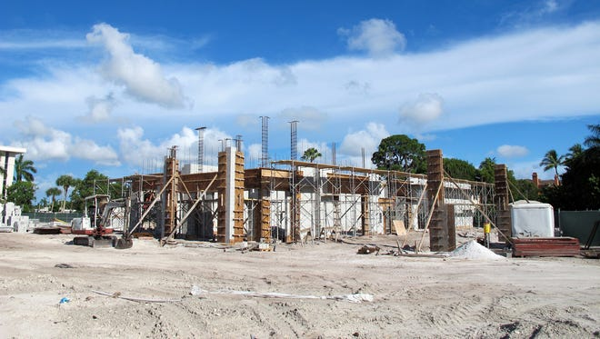 Starbucks and Tide Dry Cleaners will share a building under construction on Old Trail Drive, just west of U.S. 41 and next to Park Shore Plaza in Naples.
