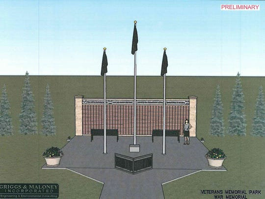This rendering depicts the way a brick wall will honor