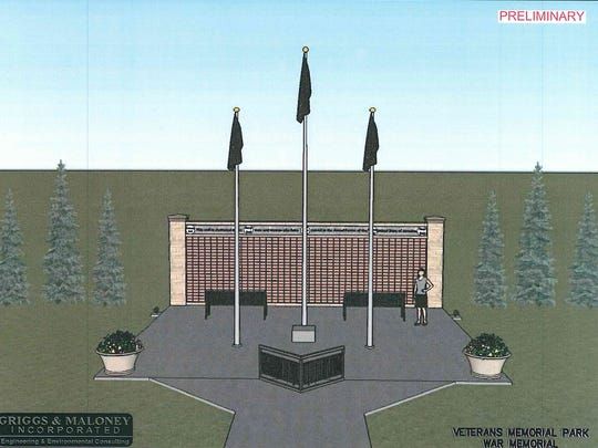 This rendering depicts the way a brick wall will honor veterans at Veterans Memorial Park in La Vergne. The display also will include a planned statue that honors veterans that's not included in this rendering, Parks and Recreation Director A.C. Davis said.