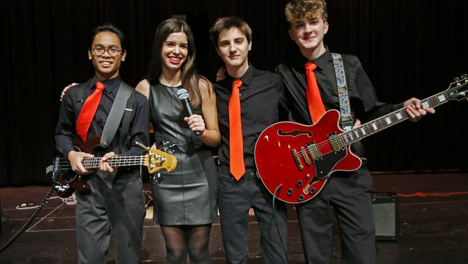 Anastasia and the Pit, Nathan Morlo, l, Anastasia Bergeron, Tyler Amelio and Spencer Butts at the Morris Educational Foundation Media Day at Morristown High School for its 9th annual Morristown Talent Show renamed Morristown ONSTAGE. The event will take place on February 24, 2016 at the Mayo Performing Arts Center. January 9, 2016, Morristown, NJ.