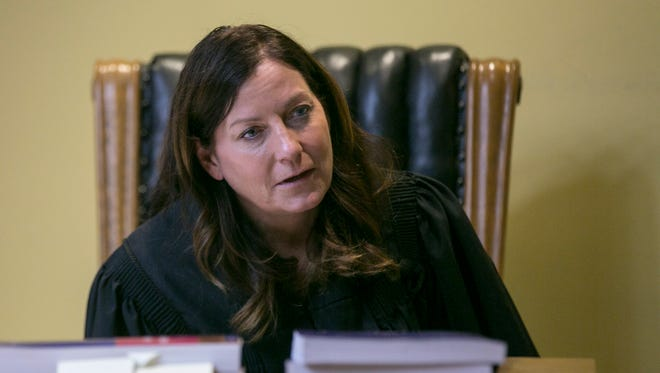 Judge Beth Gibson speaks to a witness in 92nd District Court, Newberry, Mich., Monday, Nov. 5, 2017.
