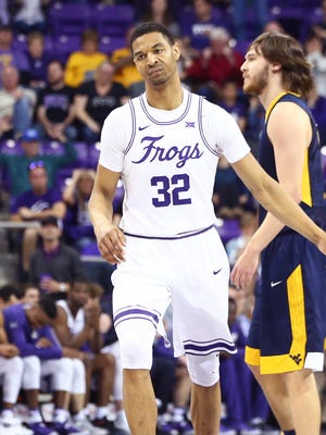 TCU Horned Frogs forward Karviar Shepherd (32) reacts during the second half against the West Virginia Mountaineers at Ed and Rae Schollmaier Arena.