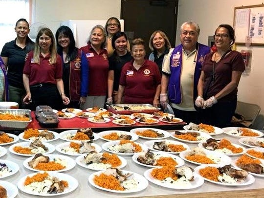 The Ayudante Lions Club of LCI District 204, provided its second feeding for the homeless on July 24 at the Dededo Senior Citizens Center. The clubs on Guam will provide two homeless feedings per month. Pictured from left: Lions Beverly Dorion, Ewy Taitano, Jolene Cruz, Stephanie Aguon, Natti Pasaro, Rose Cahill, Sophie Losongco, Kaesy Muna, Rosie Fejeran, Rosie Matsunaga, District Governor Danny Cruz and Irene Tsukado.