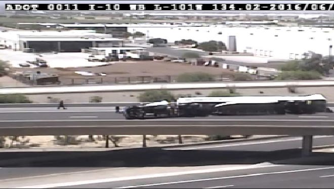 A semi-rollover has closed the ramp from Loop 101 southbound to Interstate 10 eastbound.