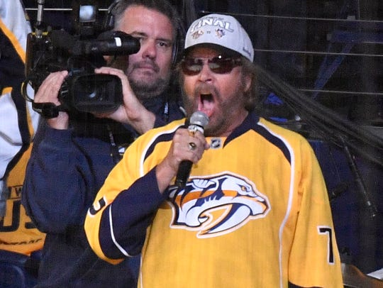 Hank Williams, Jr,  prior to Game 3 of the Stanley