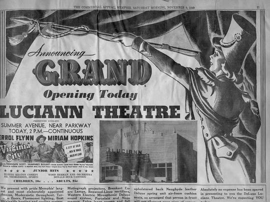 """The November 1940 """"grand opening"""" newspaper ad for the Luciann promised Memphis' """"most elaborately appointed theatre."""""""