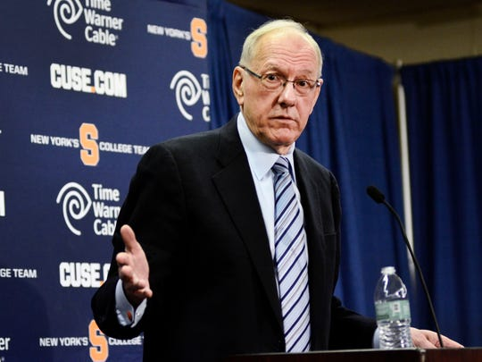 Jim Boeheim speaks during a news conference Thursday in Syracuse.