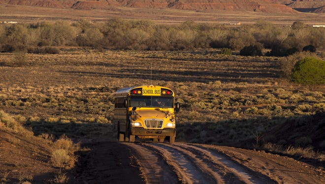 More than 60 percent of the routes that buses cover in the Chinle Unified School District are unpaved and rough. The school district spends $1 million a year on new buses in part because of the toll the roads take on its bus fleet.