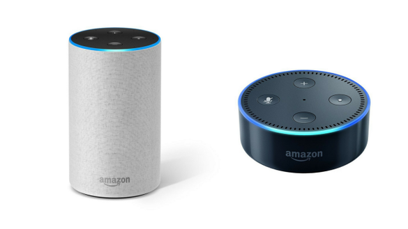 Amazon's Echo (l) and Dot (r).