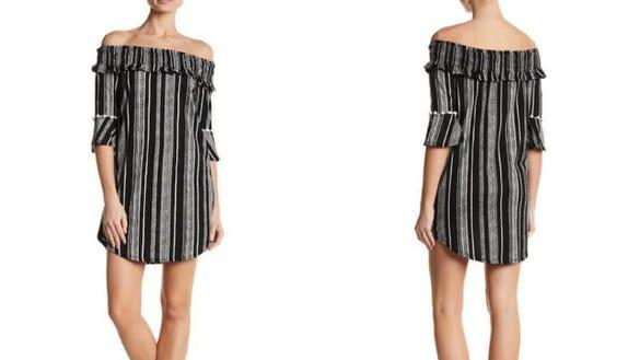 Contemporary Designer Striped Off-the-Shoulder Dress