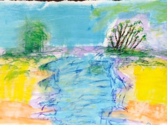 Fifth-grader Srikiran Nandigama's abstract landscape.