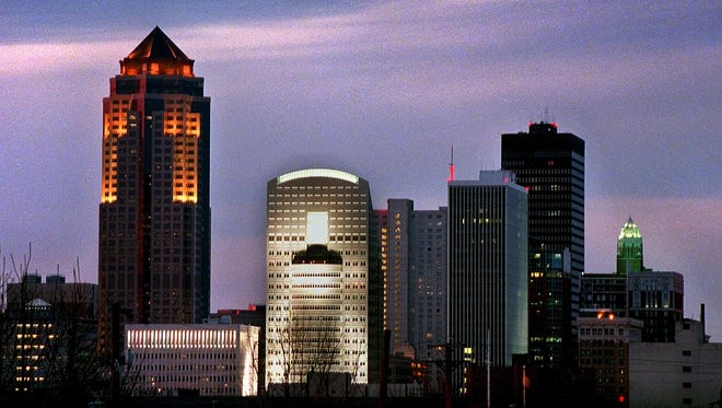 The main building of EMC Insurance's Des Moines campus (center) is seen in this Des Moines Register file photo.
