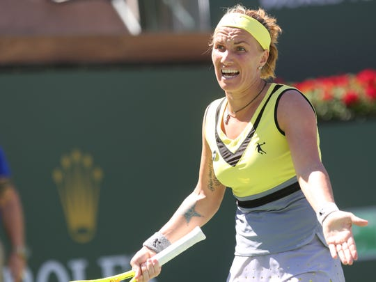 Svetlana Kuznetsova of Russia reacts to a lost point against Elena Vesnina in the Women's Singles championship match at the 2017 BNP Paribas Open on March 19, 2017 at Indian Wells, CA.