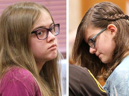 Morgan Geyser (left) and  Anissa Weier (right) appeared in Waukesha County Circuit Court in connection with the Slender Man stabbing  incident in 2014. The bizarre case attracted widespread attention.