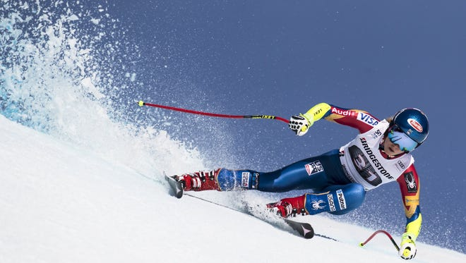 Mikaela Shiffrin from USA speeds down the slope during the Super G portion of the Women's Alpine Combined competition at the FIS Alpine Skiing World Cup in Crans-Montana, Switzerland, 26 February 2017.