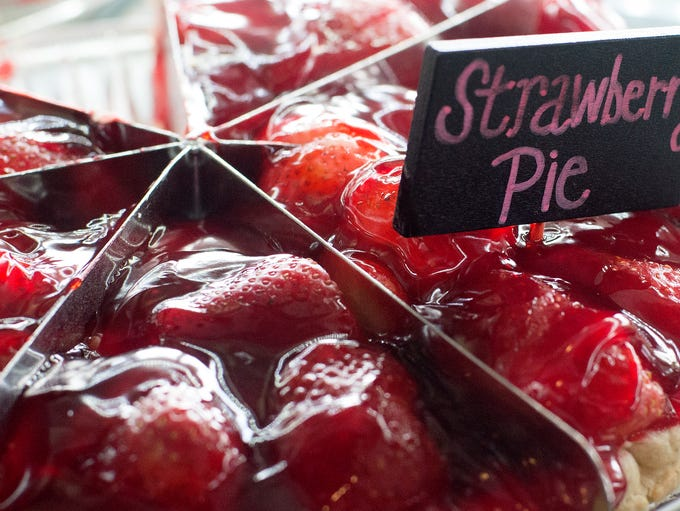 Strawberry Pie prepped and ready to be served at Around