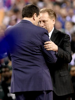 MSU head coach Tom Izzo greets Duke head coach Mike Krzyzewski before the Spartans take on the Blue Devils  in the Final Four in 2015.