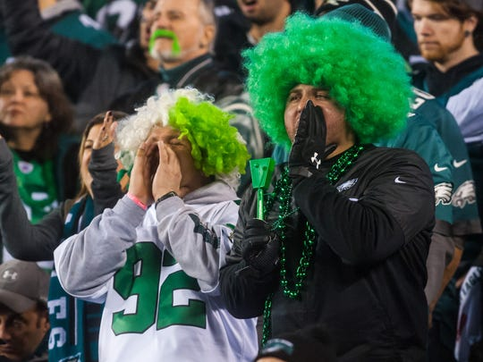 Eagles fans cheer against the Vikings at Lincoln Financial