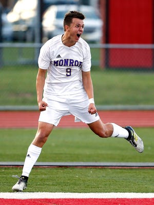 Monroe's Matt Hoyt celebrates after scoring vs. South Brunswick in the Greater Middlesex Conference Tournament boys soccer final at Woodbridge High School. Monroe defeated the Vikings 2-1. October 28, 2017. Woodbridge, New Jersey