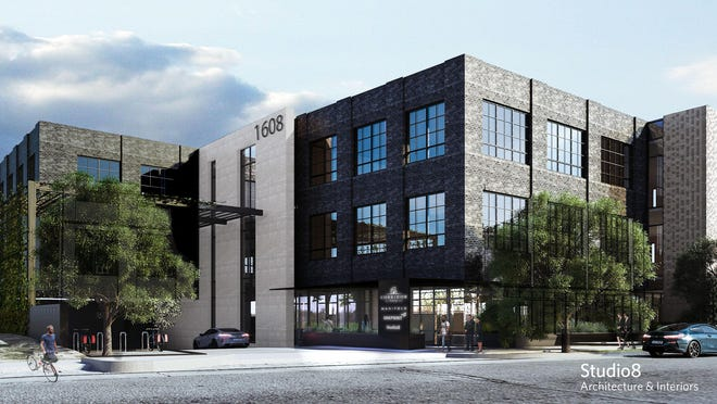 An artist's rendering shows what a new three-story office building on West Fifth Street will look like when completed.