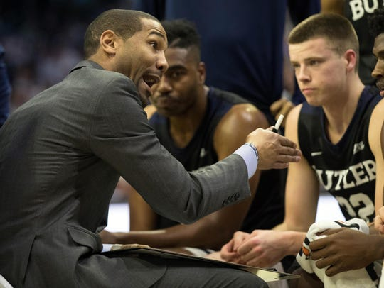 Butler Bulldogs head coach LaVall Jordan talks to his