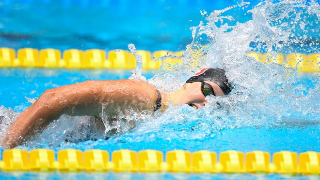 FILE --- Jun 28, 2017;  Katie Ledecky competes in the women's 200m freestyle the 2017 USA Swimming Phillips 66 National Championships at Indiana University Natatorium.