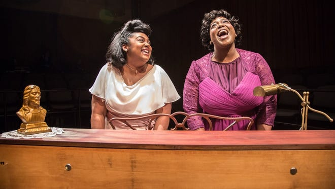 "Johnique Mitchell and Carman Cooper in Detroit Public Theatre's ""Marie and Rosetta."""