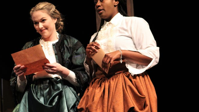 """Payton Reeves, left, as Mistress Ford and Cleo Lissade as Mistress Paige compare letters from Falstaff in this rehearsal scene from """"The Merry Wives of Windsor."""" It's one of two Shakespeare plays being performed the next two weekends at Abilene Christian University."""
